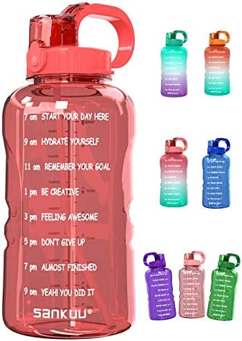SANKUU Large 1 Gallon 128oz Gallon Water Bottle Motivational with Time Marker Straw Leakproof product image