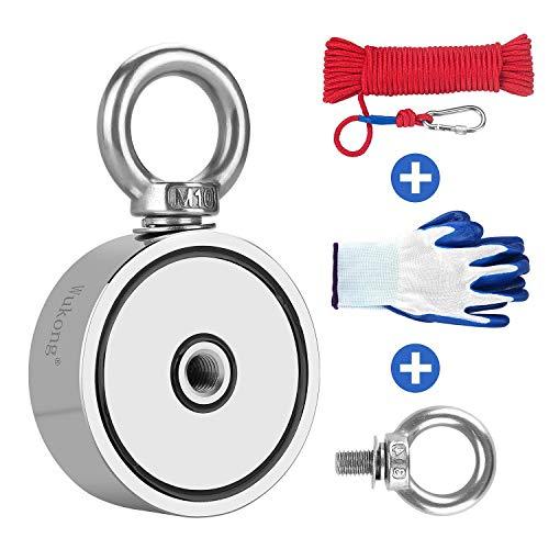 Wukong 350KG Haftkraft Doppelseitig Neodym Ösenmagnet mit 20m Seil und einem Paar Handschuhen,Super Stark Power Magnete Perfekt zum Magnetfischen - Ø 67mm mit 2 Öse Neodymium Topfmagnet
