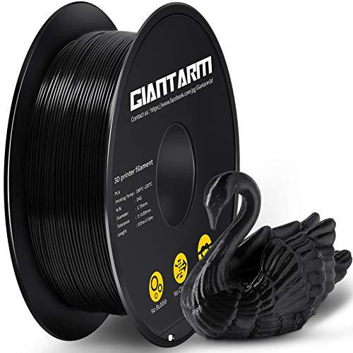 GIANTARM Filamento PLA 1.75 mm, Filamento para impresora 3D, 1 kg (negro)