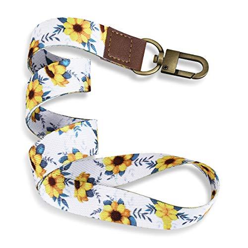 YoungRich Schlüsselband Lanyard mit Karabiner Umhängeband Zweiseitiger Druck in Vollfarbe mit Metallclip Ideal für Schlüssel,Arbeitskarte,ID-Karten,Handy (Sonnenblume)