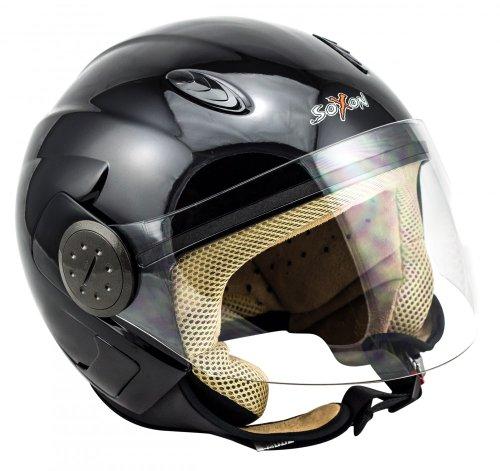 SOXON SP-317 Night Vintage Motorrad-Helm Scooter-Helm Biker Pilot Vespa-Helm Chopper Jet-Helm Roller-Helm Retro Cruiser Bobber Mofa Helmet, ECE zertifiziert, inkl. Sonnenvisier, inkl. Stofftragetasche, Schwarz, S (55-56cm)