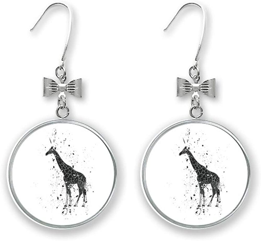 Mexican Giraffe Simple Price reduction Now on sale Black And White Pi Drop Earrings Stud Bow