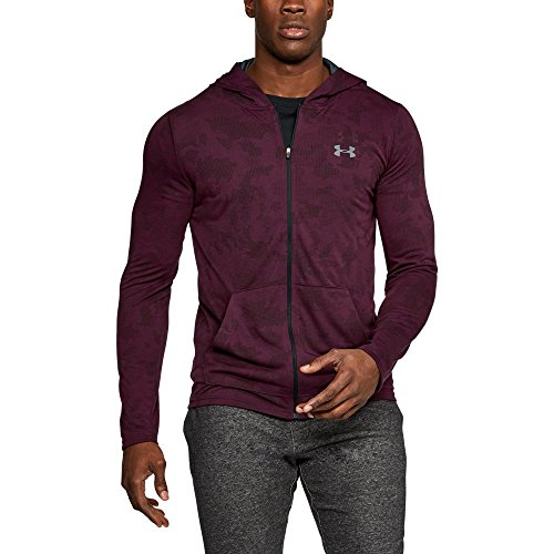 Under Armour Men's Armour Threadborne Siro Fitted Full Zip Hoodie,Raisin Red (916)/Stealth Gray, Small