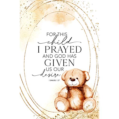 Wood Plaque with Inspiring Quotes 6 inch x 9 inch - Elegant Vertical Frame Wall & Tabletop Decoration | Easel & Hanging Hook | for This Child I Prayed and God has Given us Our Desire. I Samuel 1:27