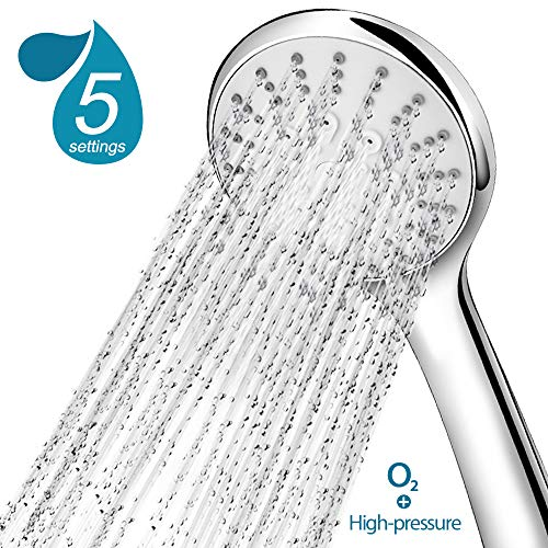 Hogreat Upgrade Detachable Showerheads with Handheld Shower, High Pressure Removable Hand Shower Heads with Extra Long Hose, 5 Spray Settings Anti-leak Shower Head Combo with Water Filters, Chrome