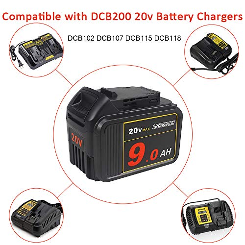 AMICROSS DCB209 20V 9.0Ah MAX XR LED Display Replacement Battery Compatible with Dewalt DCS356B, DCS367B, DCS571B, DCCS620B, DCS369B, DCHT820B, DCS334B, DCG413B, DCD996B, DCL043.…