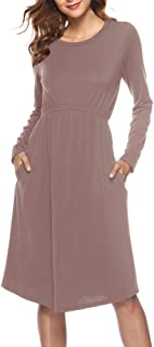 Casual Shirt Dress,NEWONESUN Women's Spring Solid Long Sleeve Round Neck Evening Party Prom Midi Dress