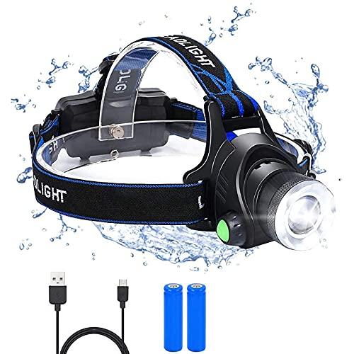 flintronic Frontal Led Recargable, USB Recargable Linternas Frontales, 3 Modos de luz y faro...