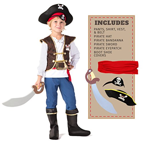 Spooktacular Creations Kinder Piraten Kostüm, Deluxe Jungen Piratenkostüm Set (3-10 Jahre) (Small)