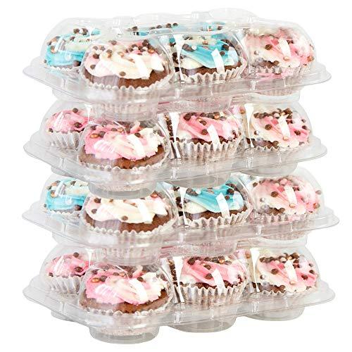 BAKERYBEST 6 Mini Cupcake Boxes, Disposable Plastic Containers Holder, 6 Count 30 Pack Carrier, Bulk Transport, Tall Dome, Muffin Tray, Clear Container Box Holders, Large Storage tray, Cupcakeboxes