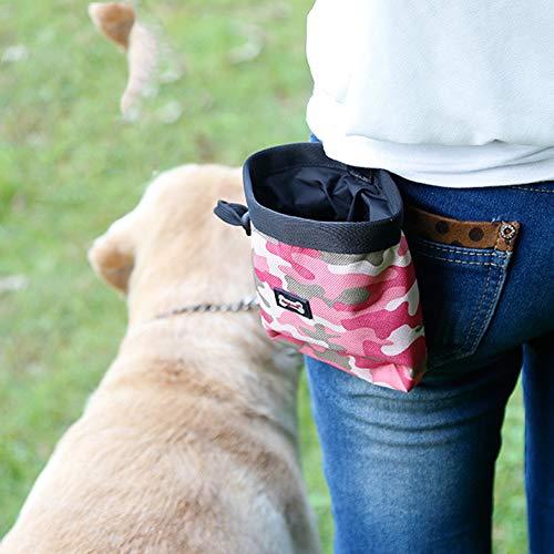 AYADA Leckerlibeutel Futterbeutel für Hunde, Wasserfest Hunde Leckerlitasche Abwaschbar leckerlibeutel Snack Bag mit Clip & Öffnen, Futtertasche leckerli Beutel für Hundetraining und Ausbildung(Rosa)