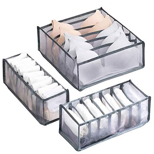 Osugin Organizador de ropa interior, cajón, caja de almacenamiento para ropa interior, corbatas, calcetines, 3 unidades plegable, organizador de armario (gris, 6 rejillas + 7 rejillas + 11 rejillas)
