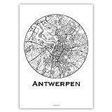 Print Antwerpen Belgien Minimalist Map - Poster, City Map,