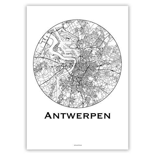 Print Antwerpen Belgien Minimalist Map - Poster, City Map, Dekoration, Geschenk