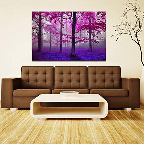 EBONP Leinwanddruck Plakat Leinwand Malerei Wand dekorative Schöne leinwand gemälde von lila Wald wandkunst Bild für Wohnzimmer Schlafzimmer dekoration-28x40inch