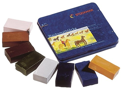 Stockmar Beeswax Block Crayons -- 8 Supplimentary Colors in a Tin