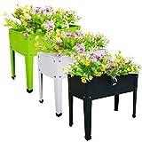 Chicreat - Jardineras elevadas, 60 x 27 x 45 cm, gris oscuro/blanco/verde (juego de 3)