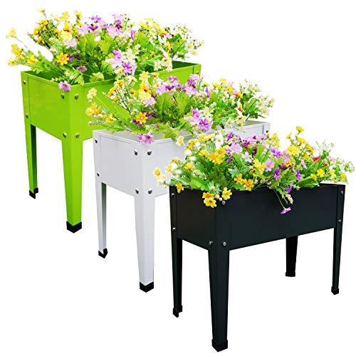 Chicreat Raised Bed Plant Box, Dark Grey, White, Green, 60 x 27 x 45cm (3-Pack)