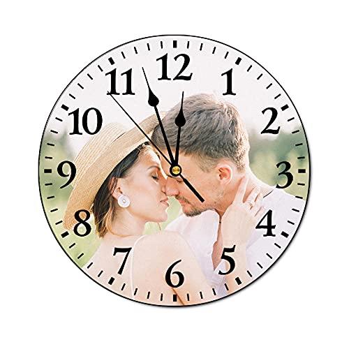 Reloj de Pared Personalizado, Reloj de Tiempo para Colgar Fotos, Agregue Su Imagen/Foto/Logotipo/Cualquier Diseño, para Decoración de Sala Estar, Dormitorio, Hogar, Oficina, Escuela, 20cm