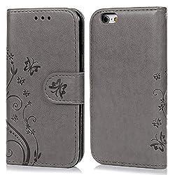 Coque de Protection pour iPhone 6 6S 4.7 Pouces, Phone Case Flip Cover Clapet 2 en 1 PU Cuir avec TPU Souple Fermeture Magnétique Motif Relief Papillon - Gris