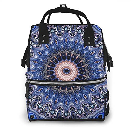 Oriental colorido redondo geométrico bolsa de pañales multifunción bolsas de pañales para el cuidado del bebé impermeable amplia mochila de viaje abierta para la organización