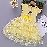 SUNXC Niña Princesa Vestido Disfraz, Vestido Princesa Aisha-Amarillo_120cm,Vestido de Princesa Fiesta de Vestir Disfraces