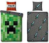 Familando Wende Bettwäsche-Set Minecraft, 135x200cm + 80x80cm, 100% Baumwolle, grün Motiv Craft Blöcke TNT und Spitzhacke