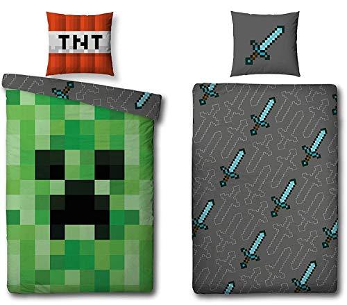 Familando Wende Bettwäsche-Set Minecraft, 135x200cm + 80x80cm, 100{8300b197125e7020b94b115838669463f71504968d60606651154cb85ad9d702} Baumwolle, grün Motiv Craft Blöcke TNT und Spitzhacke