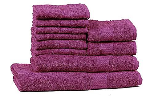 Trident Combo Set di 10 Asciugamani da Bagno Mani-Viso in Cotone, qualità 400 g/m², Colore: Viola