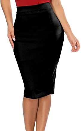 Elogoog Hot Sale 2018 Pencil Skirts Women's Comfort Stretchy High Waisted Midi Bodycon Office Skirt