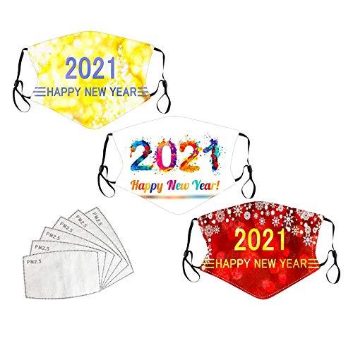 GJKK 3Stück Erwachsene Mundschutz 2021mit Motiv Multifunktionstuch Baumwolle Cartoon Druck Nose Sportmundschutz Waschbar Mund-Nasenschutz Bandana Halstuch