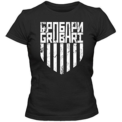 Grobari Jug T-Shirt 02 | Damen | Vintage | Partizan | Serbien | Fußball | Serbia | Belgrad | Beograd | Tee, Farbe:Schwarz (Deep Black L191);Größe:L