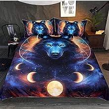 HHDL Juego de ropa de cama con diseño de lobo en 3D, funda nórdica de microfibra, con cremallera y funda de almohada (220 x 240 cm)