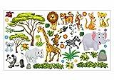 nikima - 060 Wandtattoo Wanddekoration Dschungel Tiere Löwe Elefant Koala Panda Giraffe Zebra - in 6 Größen - Kinderzimmer Sticker Wandaufkleber niedliche Wandsticker Wanddeko Wandbild Junge Mädchen (750 x 420 mm)