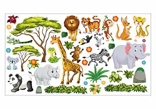 nikima - 060 Wandtattoo Wanddekoration Dschungel Tiere Löwe Elefant Koala Panda Giraffe Zebra - in 6 Größen - Kinderzimmer Sticker Wandaufkleber niedliche Wandsticker Wanddeko Wandbild Junge Mädchen (1000 x 560 mm)