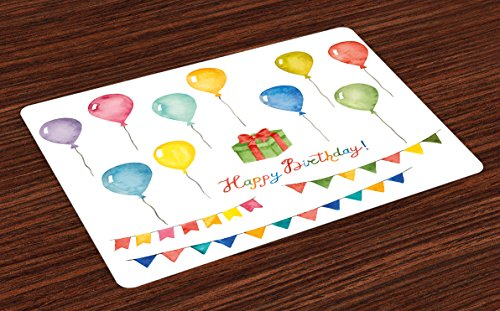 Ambesonne Birthday Place Mats Set of 4, Watercolor Set for Celebration Flags Surprise Box Balloons and Happy Best Wishes, Washable Fabric Placemats for Dining Room Kitchen Table Decor, Pastel Red