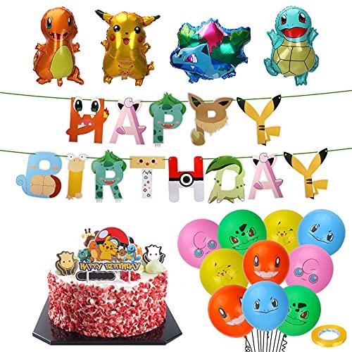 Pokémon verjaardagsdecoratieset, Pokémon kinderverjaardagsfeestdecoratie, Pikachu Pokémon luchtballon, folieballon Pokemon verjaardag party set Pokémon kinderverjaardag party decoratie met banner (B)