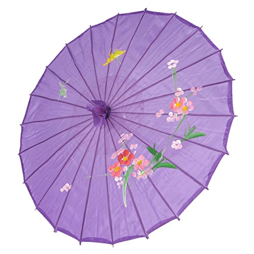 JapanBargain 2173, Japanese Parasol Chinese Asian Nylon Umbrella Parasol for Photography Cosplay Costumes Wedding Party Home Decoration Kids Size, 22 inch, Purple