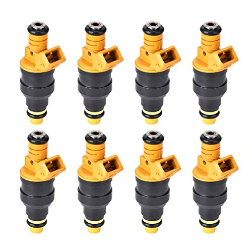 280150943 0280150939 0280150909 New Fuel Injector Set of 8, Fits 1992-2004 Ford E250, F150, F250, F350, E350, Mustang, Lincoln and Mercury 4.6L, 5.0L, 5.4L, 5.8L Vehicles (Yellow)