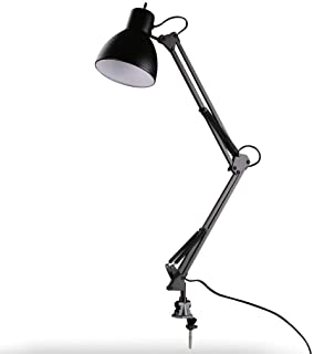 XHJJDJ Swing Arm LED Desk Lamp, C-Clamp Table Light, Flexible Classic Architect Clamp-on, Black Painted (Color : Black)