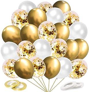 60 عبوة من بالونات القصاصات الذهبية البيضاء، بالونات ذهبية معدنية 12 بوصة، بالونات هيليوم الزفاف لعيد الميلاد وحفلات الزفا...