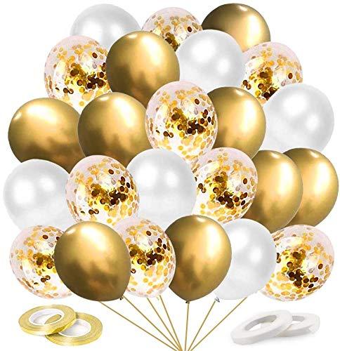 O-Kinee Globos de Confeti Dorados, 60 Piezas Globos Metalizados Dorados y Latex Blancos, para Cumpleaños, Bodas Aniversario, Bautizos Comunion Baby Shower, Graduacion Fiesta Decoracion