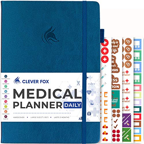 Clever Fox Medical Planner Daily – Medical Notebook, Health Diary, Wellness Journal & Logbook to Track Health – Self-Care Medical Journal – 3 Months, Undated, 7″ x 10.5″, Hardcover (Mystic Blue)