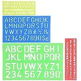 YOTINO 4 piezas plantilla alfabeto letras número artesanal plantillas de plástico regla conjunto de guías