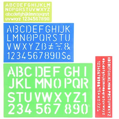 YOTINO 4 Stück Schablone Alphabet Buchstaben Nummer Handwerk Kunststoff Schablonen Linealhilfslinien Set