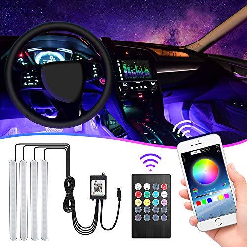 Striscia LED Auto con APP, Bedee Led Auto Interni con 48 LED RGB Auto, 4 Barre Strip Led Auto 8 Colori Multicolore Impermeabile Auto Strisce 4 Modalità Musica, Telecomando– Alimentato da USB