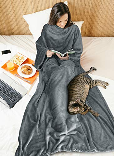 Wearable Blanket with Sleeves for Adult Women Men, Extra Soft Warm Cozy Micro Plush Lightweight Fleece Snuggy Body Blanket, TV Wrap Throw Blanket Robe with Pocket for Lounge Sofa Home Office, Gray