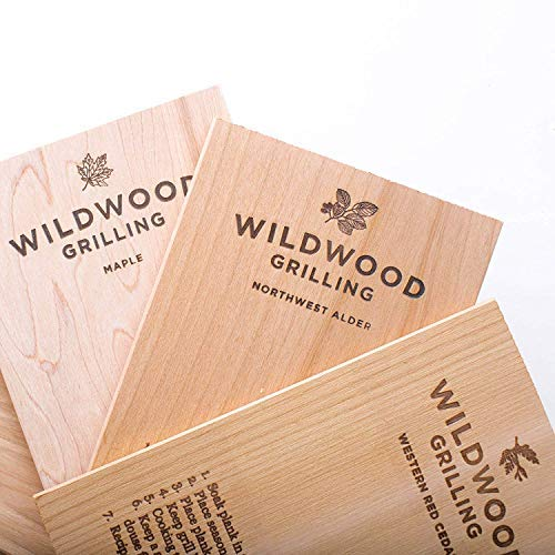 Wildwood Grilling Small Grilling Planks Sampler - 6-Flavor Variety Pack - Cedar, Alder, Cherry, Hickory, Maple, Red Oak - 5'x8'