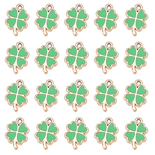 NBEADS 100 Colgantes con dijes de Cuatro Hojas, dijes de trébol esmaltados del día de San Patricio, Colgantes de Resina de trébol de la Suerte para Manualidades, fabricación de Joyas