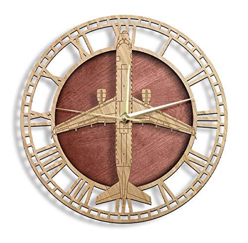 sufengshop Reloj de Pared de Madera, avión, decoración del hogar Militar, Aviones a reacción de Motor Gemelo, Reloj de Pared de Madera rústico, Regalo de piloto de aviación